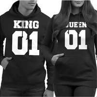 King and Queen Couple Long Sleeve Hooded or Prince Princess Children Short Sleeve Shirts Letter Printing Couple Tops Hip-hop Couple Hoodies Coat [9210702403]