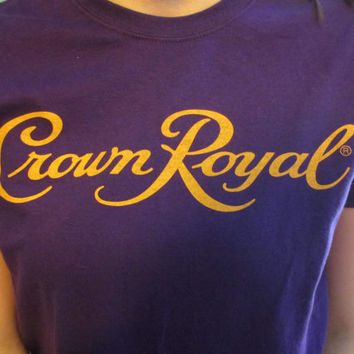 Vintage Purple and Yellow Crown Royal Graphic Tee Shirt