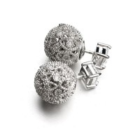 Sale European 925 silver needle hollow carved small ball stud earrings female crystal from Swarovski simple temperament wild
