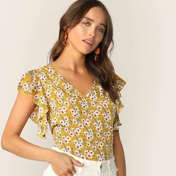 Floral Print V-Neck Butterfly Sleeve Blouse Boho Style Ginger Cap Sleeve Blouse Women Tops Blouses