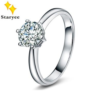 STARYEE Women's 18K Gold Charles Colvard 0.5Ct Solitaire Moissanite Engagement Ring