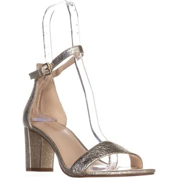 Nine West Pruce Ankle Strap Sandals, Light Gold Metallic, 7 US