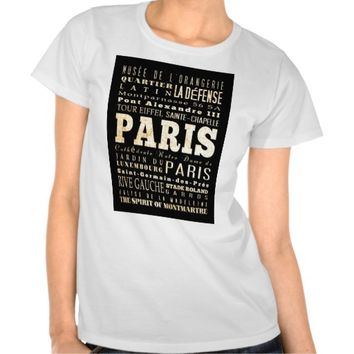 Attractions and Famous Places of Paris,France Tee Shirt