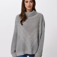 Light Grey Cable Knit Jumper - Miss Selfridge