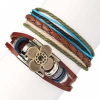 Brown Flower Leather Bracelet Set