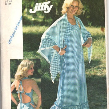 Simplicity Retro 70s Sewing Pattern Boho Hippie Style Peasant Halter Dress Disco Fashion Open Back Maxi Length Shawl Bust 34