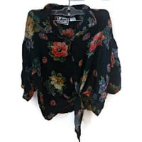 Vintage Floral Tie Up Top Shirt Black Floral Hipster Tumblr Grunge