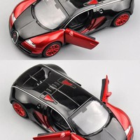 Double Horses 1:32 Scale Bugatti Veyron Alloy Diecast Car Model Pull Back Toy Cars Electronic Car with light Kids Toys Gift