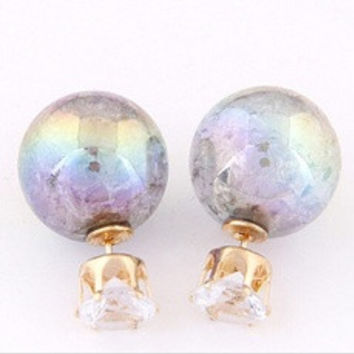 Hot Cute Candy Color Double Side Round Pearl Earings Resin Crystal Ball Ear Studs OS [9791248975]