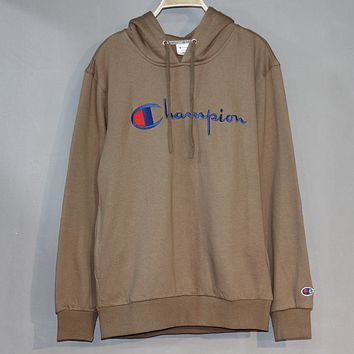 Champion 2018 autumn and winter new embroidery letters for men and women loose hoodies Khaki