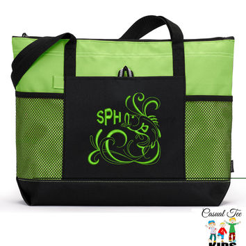 Monogrammed Zippered Bass Fishing Tote Bag with Mesh Pockets, Diaper Bag, Beach Bag