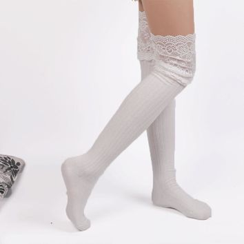 1 Pair Women Fashion Knee Socks Crochet Knitted Lace Boot Cuffs Thigh High Stockings Long Cotton Stockings