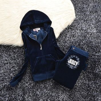 Juicy Couture Studded Logo Velour Tracksuit 6021 2pcs Women Suits Navy