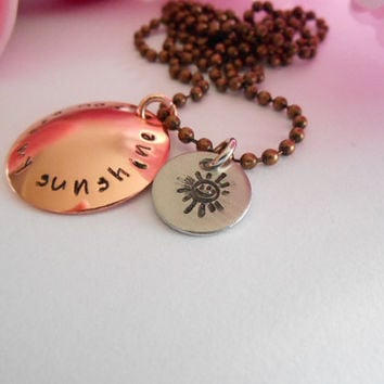 You Are My Sunshine Soft Polished Copper Necklace With Sun Charm