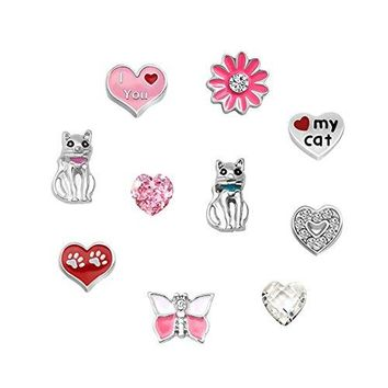 Third Time Charm Cute Cat Charm For Glass Living Memory Floating Lockets Necklace amp Bracelets