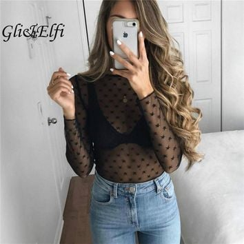 Star Dot Bodysuit Women 2017 Autumn Sexy Tops Party Club Jumpsuits Grace Rompers Overalls Vintage Playsuit Long Sleeve Dungarees