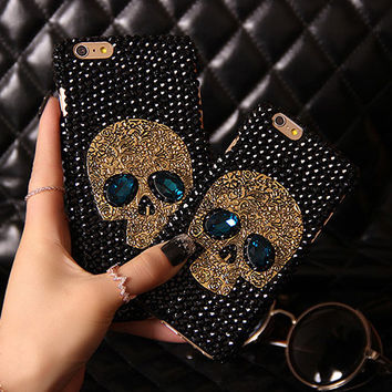 Metal Saphire Eye Diamond Skull Case Cover For IPhone 6 6S Plus 5 5S 5C 4S Samsung Galaxy Note 5 4 3 2 S7 S6 Edge Plus S5 S4 S3