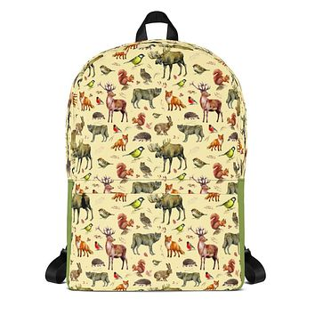 Forest Animals Backpack Wolf School Bag with Wolves, Moose, Birds, Fox, Hedgehog, Squirrels and Owls