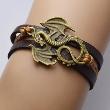 Fashion men bracelet jewelry Vintage Game Of Thrones Song Of Ice And Fire Handmade Leather Dragon bracelets