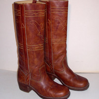 Western Cowboy Boots Vintage Womens  Stitched Leather Bull Design 7B 7 B