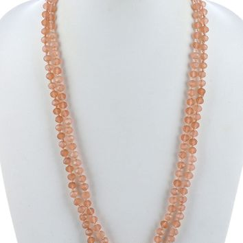 Topaz Natural Stone Finish Extra Long Bead Necklace