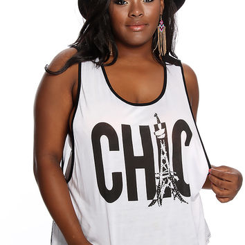 White Graphic Print Mesh Causal Plus Size Top