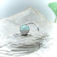 Nose Stud 17 White Opal Silver