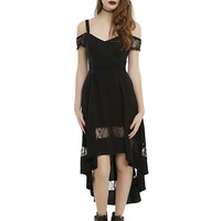Royal Bones By Tripp Black Cold Shoulder Hi-Low Dress