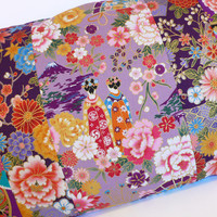 Purple Japanese print pillowcase cushion cover with Geisha mount Fuji, fans and flowers.