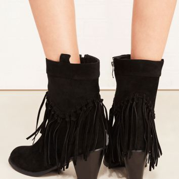 Fringe Heeled Faux Suede Boots | Wet Seal