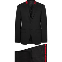 Givenchy - Black Slim-Fit Contrast-Tipped Wool-Blend Suit