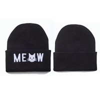Meow Beanie Womens & Mens Warm Winter Knitted Black Cuffed Skully Hat