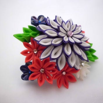Colorful Chrysanthemum bouquet purple salmon pink white, tsumami kanzashi, hair clip, snap clip, bridal headpiece, wedding, cosplay