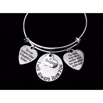 I Will Always Love You Daughter Expandable Charm Bracelet Adjustable Silver Wire Bangle Gift Mother Daughter Forever Father Daughter Forever