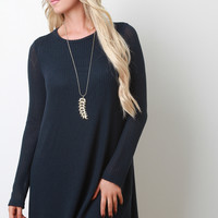 Loose Knit Long Sleeves Sweater Dress