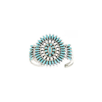 Small Navajo Designed Cluster Cuff - Turquoise