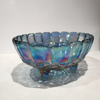Blue Carnival Glass Footed Bowl, Carnival Glass Fruit Bowl Garland Bowl Serving Bowl Iridescent Glass