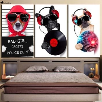 3 Piece Musical Bulldog Wall Art Canvas