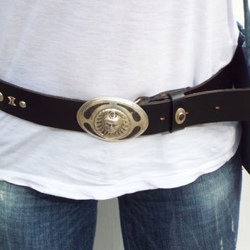 silver leather belt, heavy metal  belt, Native America belt, Rock style belt, sterling  silver  bucle -sterling silver led belt