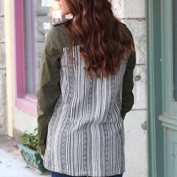 Tribal Back Military Style Long Sleeve Button Down {Olive}