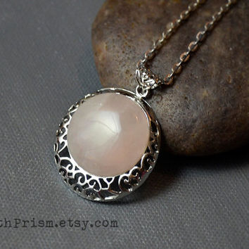 Rose Quartz Stone Pendant   Silver Filigree Pendant   Gemstone necklace   Pink crystal Necklace   Pink Stone   Silver Chain or Black Choker
