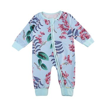 Newborn Toddler Baby Boy Girl Cute Romper Floral Jumpsuit Blue Zipper Outfit Baby Clothes