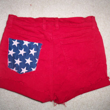 Red high waisted America shorts by ShortsNBowsNSuch on Etsy