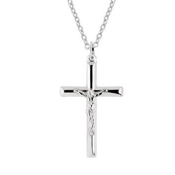 SHIP BY USPS: Sterling Silver Polished Italian Crucifix Cross Charm Pendant Necklace