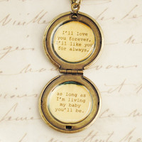 I'll love you forever I'll like you for always- Daughter Locket Antique Brass - Women's Lockets - Quote Lockets - Mom and Me