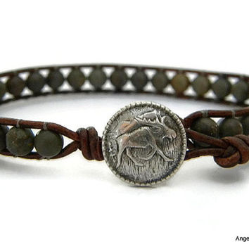 Mens Bracelet Leather Wrap Bracelet Moose Single Wrap