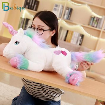 Babiqu 1pc 50CM Cute Rainbow Unicorn Plush Toy Stuffed Animal Toy Lovely Unicorn Toy for Children Soft Pillows Christmas Gifts