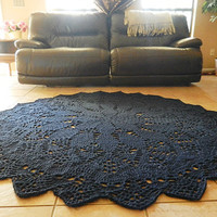 Giant Crochet Doily Rug in Geometric Petals Design- Navy Blue -Round Rug, large area rug- Cottage Chic- Oversized- shabby chic- nursery rug
