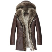 Men's Hooded Shearling Sheepskin Coat Fur Trim