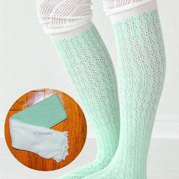 Mint & Ivory Slouchy Two Tone Knitted Boot Socks